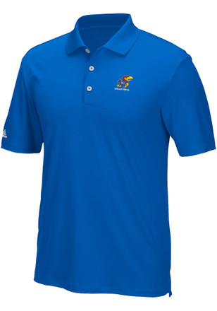 Adidas KU Jayhawks Mens Blue Performance Short Sleeve Polo Shirt