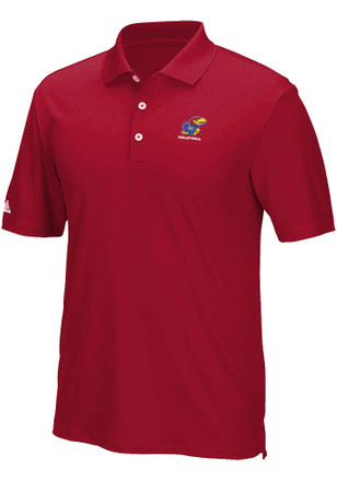 Adidas Kansas Jayhawks Mens Red Performance Short Sleeve Polo Shirt