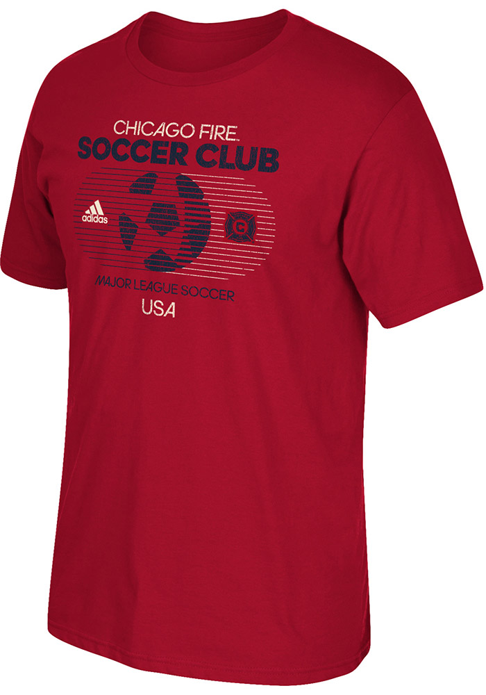 Adidas Chicago Fire Red Soccer World Short Sleeve Fashion T Shirt - Image 1