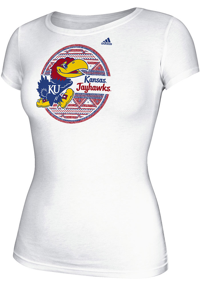 Adidas Kansas Jayhawks Womens White Patterned Circle Short Sleeve Crew T-Shirt - Image 1