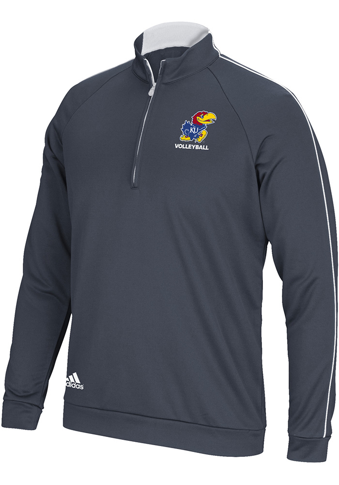 Adidas Kansas Jayhawks Mens Grey 3-Stripe Long Sleeve 1/4 Zip Pullover - Image 1