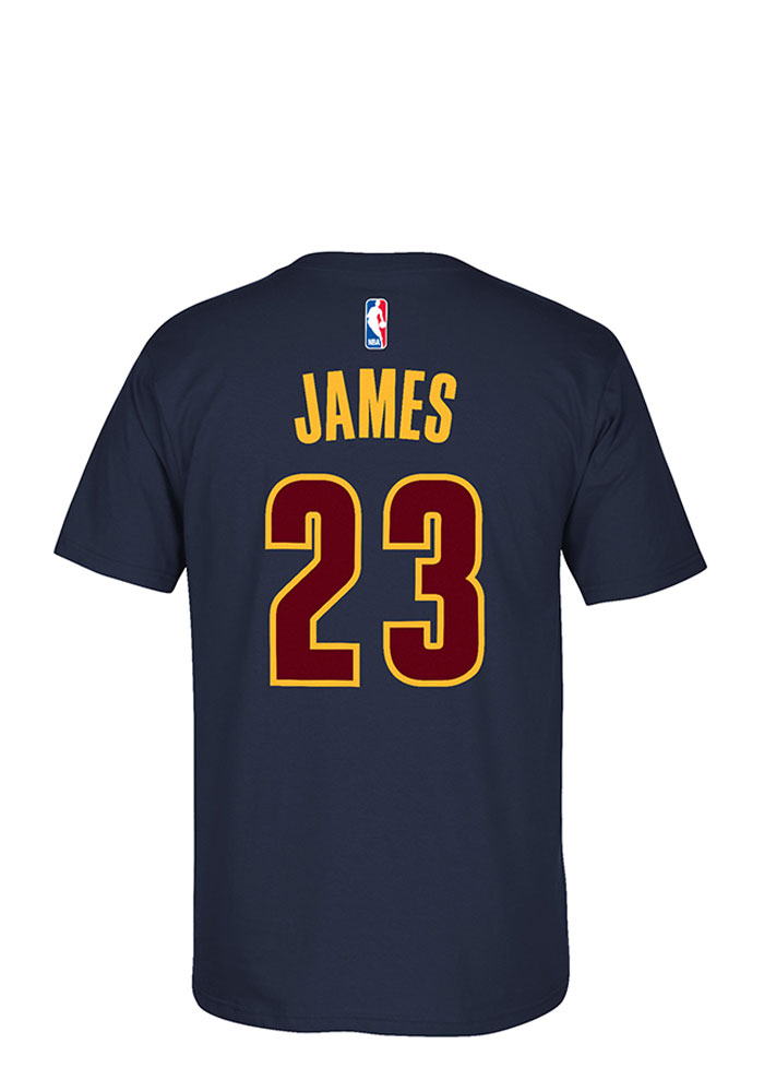 LeBron James Cleveland Cavaliers Mens Navy Blue 7-Series Short Sleeve Player T Shirt - Image 1