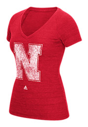 Adidas Nebraska Womens Red Ultimate V-Neck