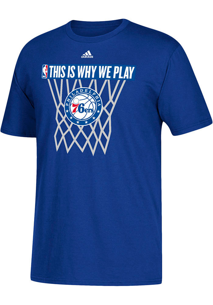 Adidas Philadelphia 76ers Blue This Is Why We Play Short Sleeve T Shirt - Image 1
