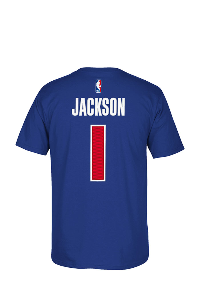 Reggie Jackson Detroit Pistons Blue Player Name and Number Short Sleeve Player T Shirt - Image 1