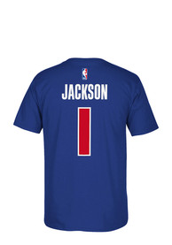 Reggie Jackson Detroit Pistons Blue Player Name and Number Player Tee