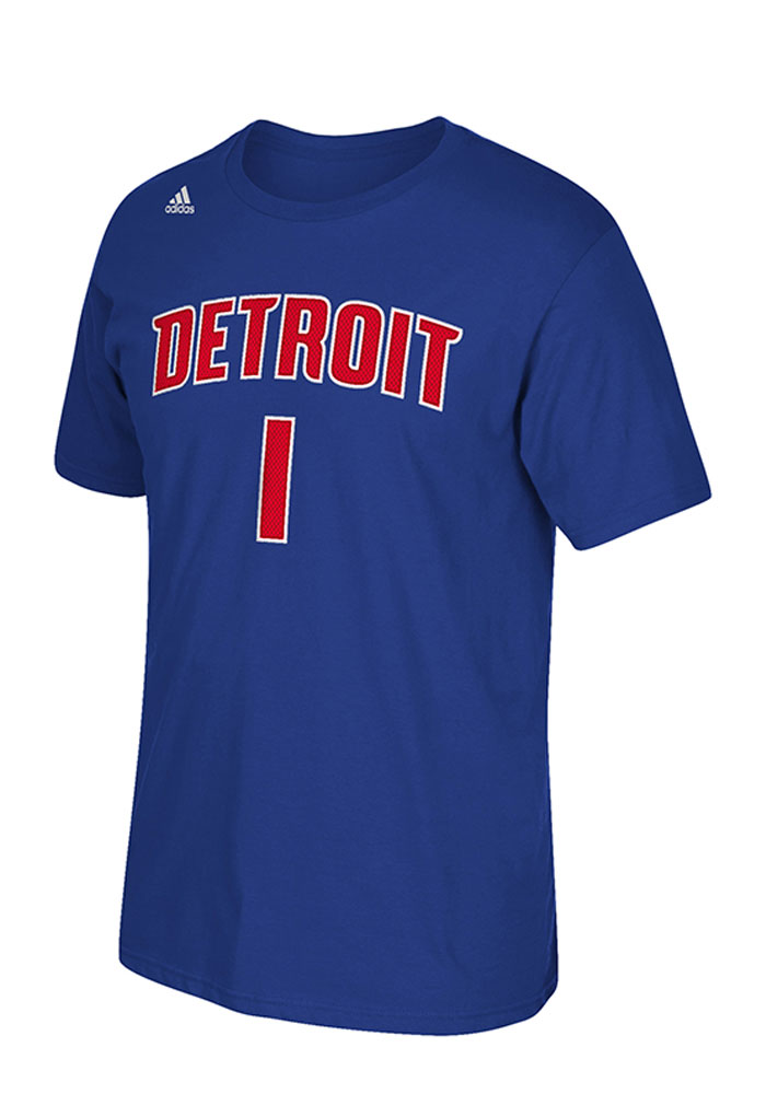 Reggie Jackson Detroit Pistons Blue Player Name and Number Short Sleeve Player T Shirt - Image 2