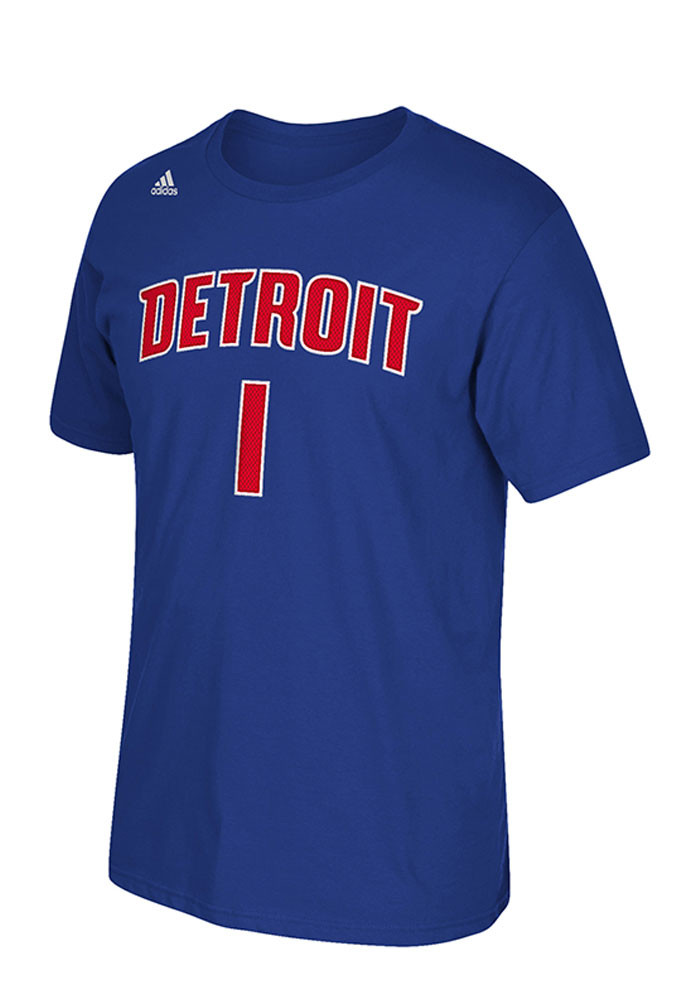 Reggie Jackson Detroit Pistons Mens Blue Player Name and Number Short Sleeve Player T Shirt - Image 2