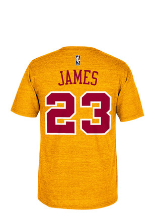 LeBron James Cleveland Cavaliers Mens Gold Hardwood Classics Player Tee