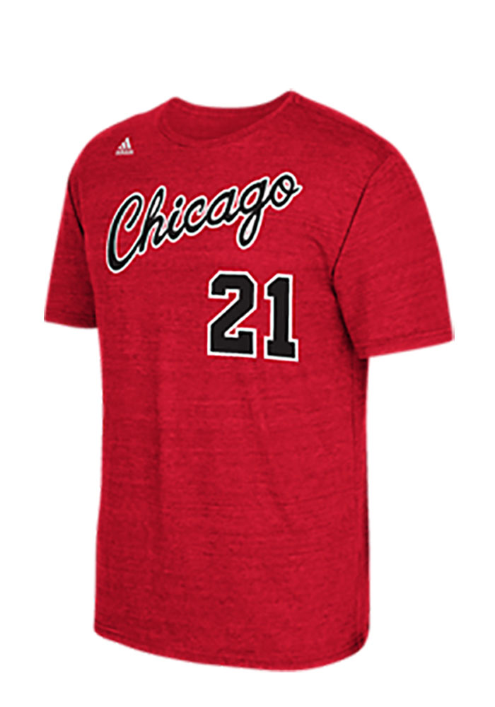 Jimmy Butler Chicago Bulls Mens Red Name and Number Short Sleeve Player T Shirt - Image 1