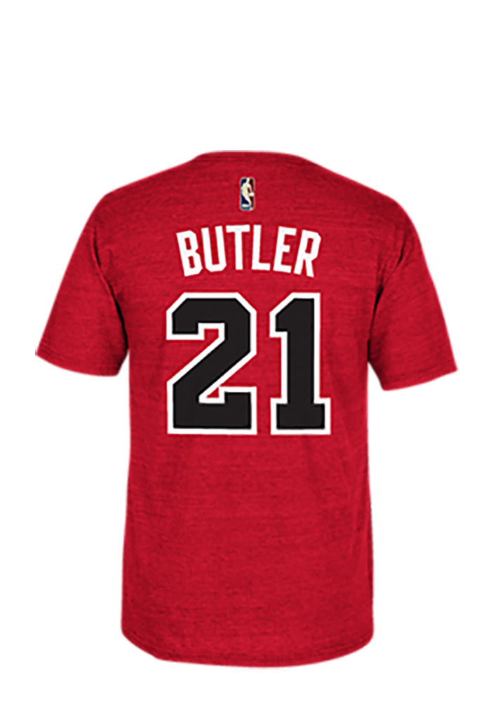 Jimmy Butler Chicago Bulls Mens Red Name and Number Short Sleeve Player T Shirt - Image 2