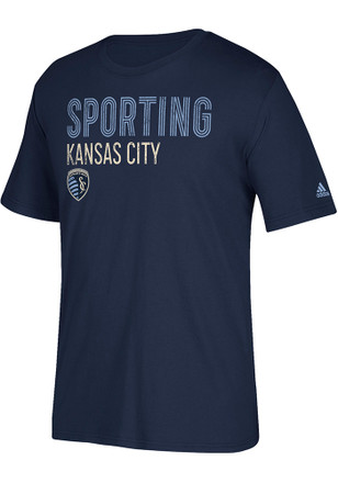 Adidas Sporting Kansas City Mens Navy Blue Triline Locale Tee
