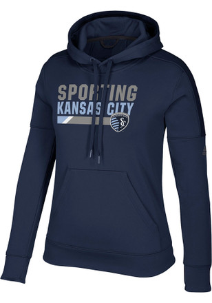 Adidas Sporting Kansas City Womens Navy Blue Bottom Bar Slant Hoodie