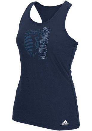 Adidas Sporting Kansas City Womens Navy Blue Vertical Open Tank Top