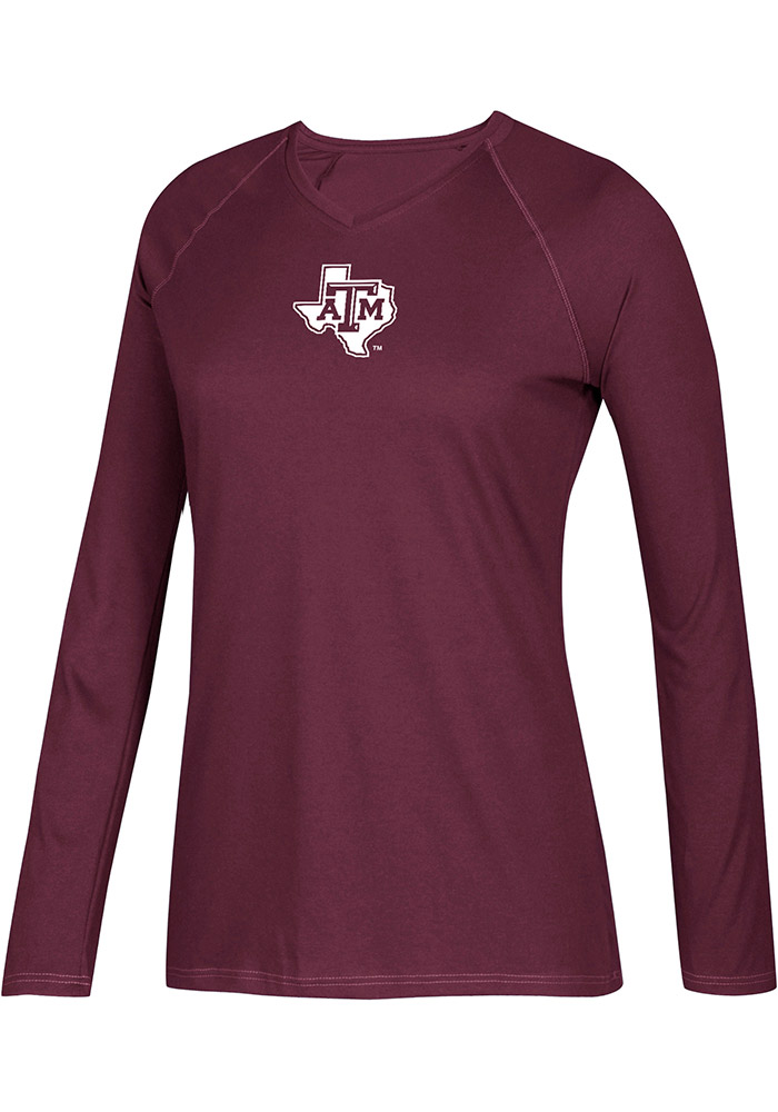 Adidas Texas A&M Aggies Womens Maroon Climalite Long Sleeve T-Shirt - Image 1