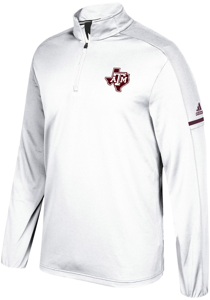 Adidas Texas A&M Aggies Mens White Sideline 1/4 Zip Pullover