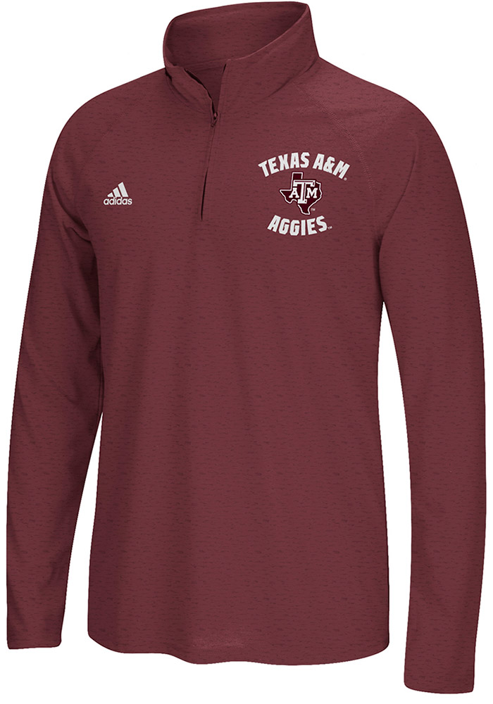 Adidas Texas A&M Aggies Mens Maroon Athletic Arches Long Sleeve 1/4 Zip Pullover - Image 1