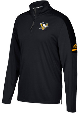 Adidas Pittsburgh Penguins Mens Black Authentic 1/4 Zip Pullover