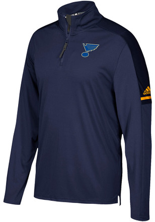 Adidas St Louis Blues Mens Navy Blue Authentic 1/4 Zip Pullover