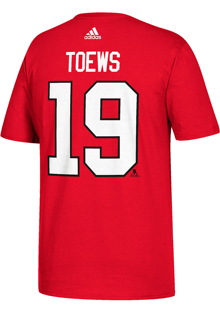 Jonathan Toews Chicago Blackhawks Red Name and Number Short Sleeve Player T Shirt - Image 2