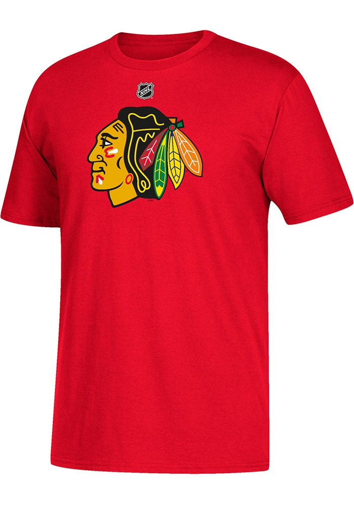 Marian Hossa Chicago Blackhawks Red Name and Number Short Sleeve Player T Shirt - Image 1