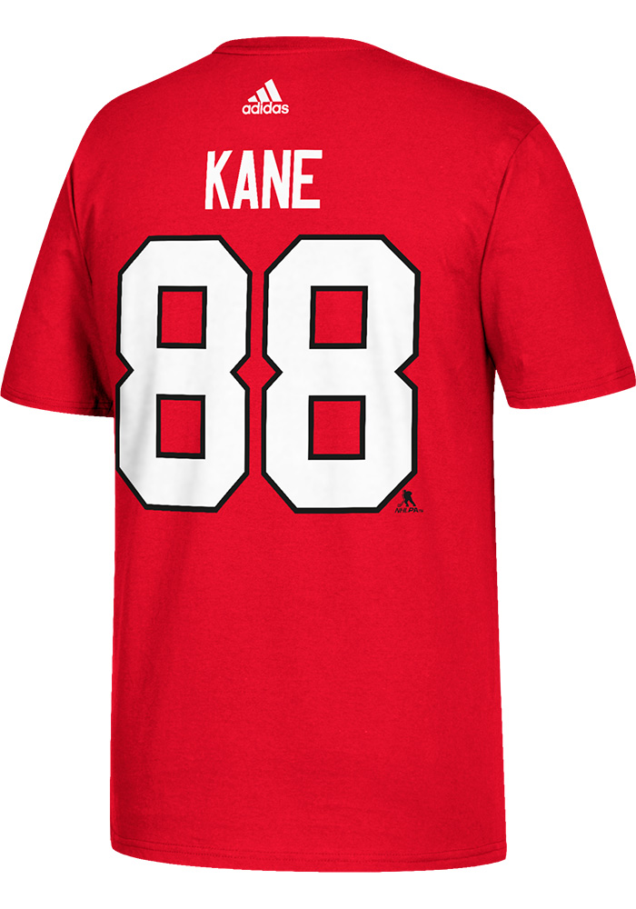 Patrick Kane Chicago Blackhawks Red Name and Number Short Sleeve Player T Shirt - Image 2