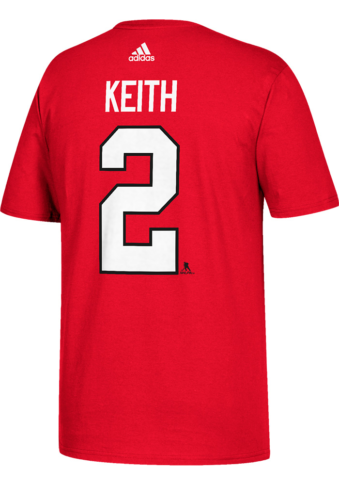 Duncan Keith Chicago Blackhawks Red Name and Number Short Sleeve Player T Shirt - Image 2