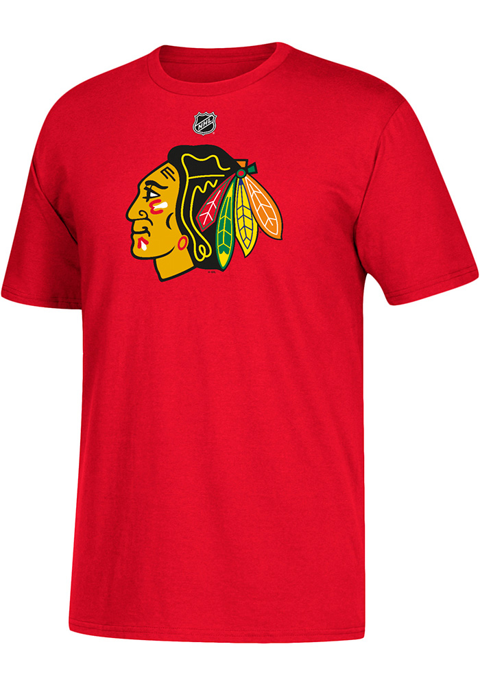 Corey Crawford Chicago Blackhawks Red Name and Number Short Sleeve Player T Shirt - Image 2