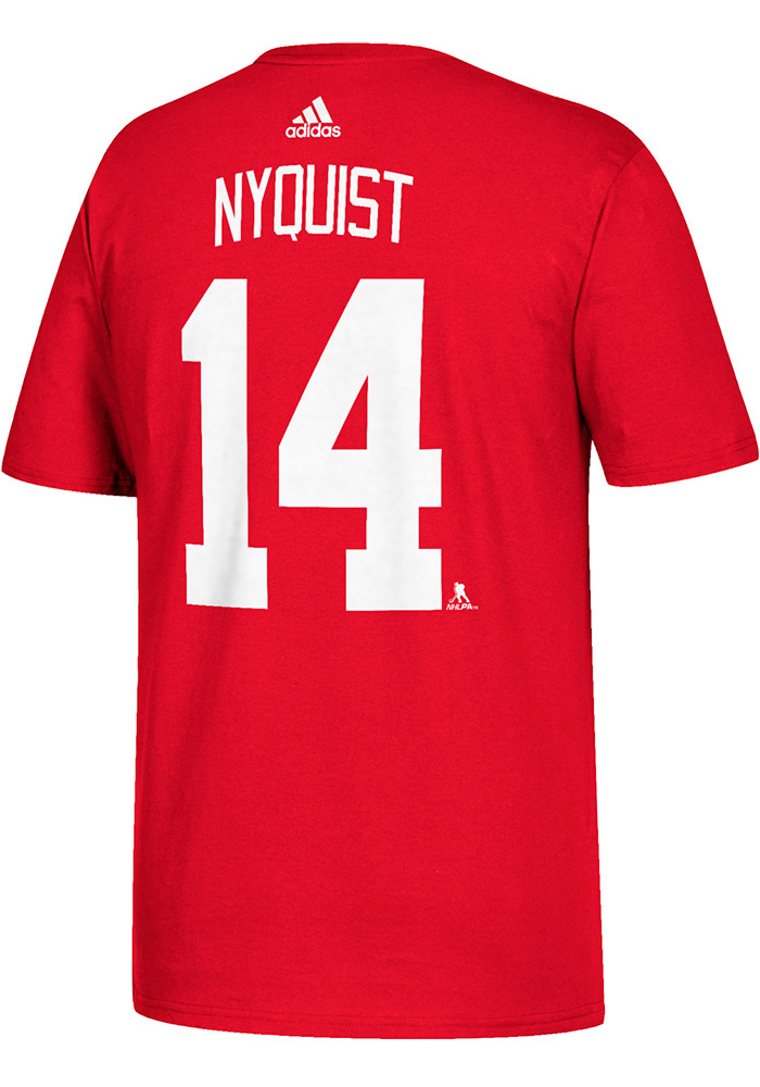 Gustav Nyquist Detroit Red Wings Red Name and Number Short Sleeve Player T Shirt - Image 1