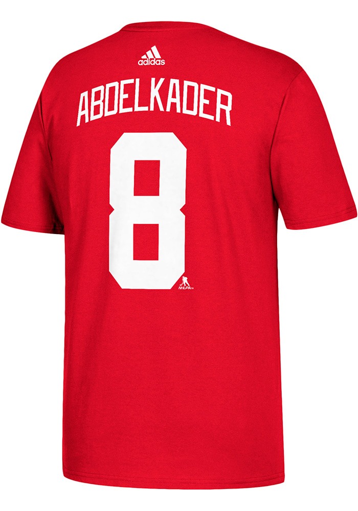 Justin Abdelkader Detroit Red Wings Red Name and Number Short Sleeve Player T Shirt - Image 1
