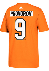 Ivan Provorov Philadelphia Flyers Orange Name and Number Player Tee
