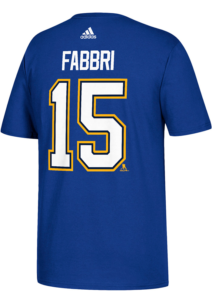Robby Fabbri St Louis Blues Mens Blue Name and Number Short Sleeve Player T Shirt, Blue, 100% COTTON, Size L