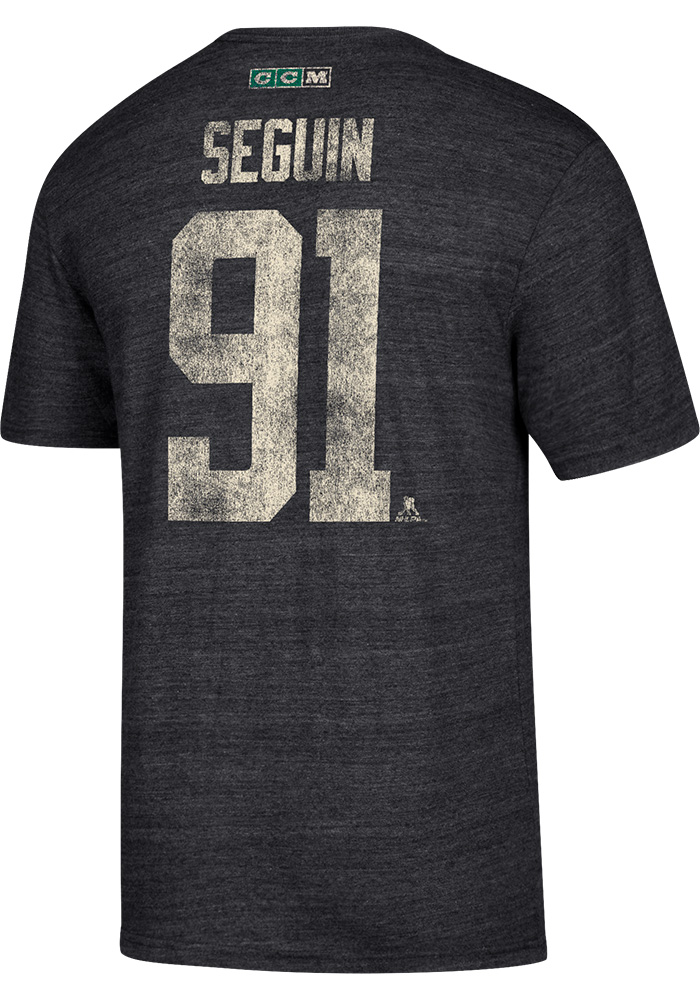 Tyler Seguin Dallas Stars Grey Name and Number Short Sleeve Fashion Player T Shirt - Image 1