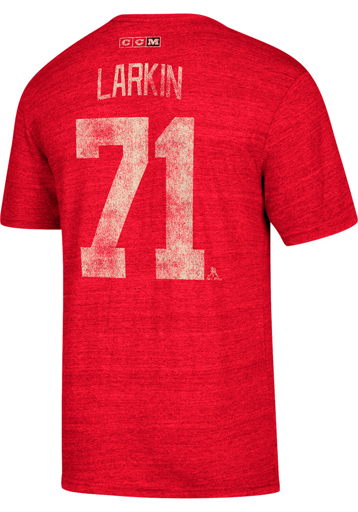 Dylan Larkin Detroit Red Wings Red Name and Number Short Sleeve Fashion Player T Shirt - Image 1