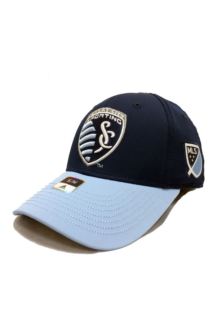 Adidas Sporting Kansas City Mens Navy Blue Team Flex Hat - Image 1