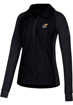 Adidas Kansas Jayhawks Womens Vertical Heather Black 1/4 Zip Pullover