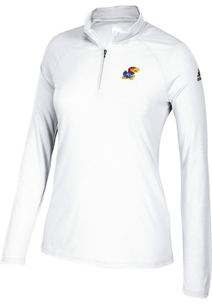 Adidas Kansas Jayhawks Womens Ultimate White 1/4 Zip Pullover