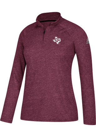 Adidas Texas A&M Womens Ultimate Maroon 1/4 Zip Performance Pullover