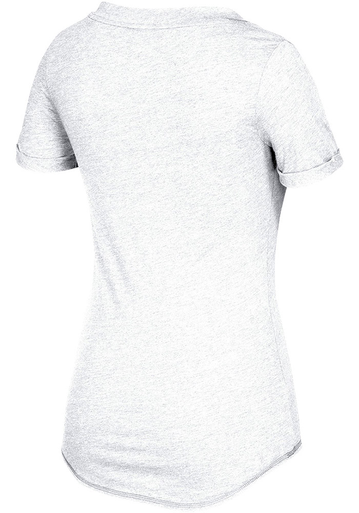 Adidas Kansas Jayhawks Womens White Lifestyle V-Neck T-Shirt - Image 2