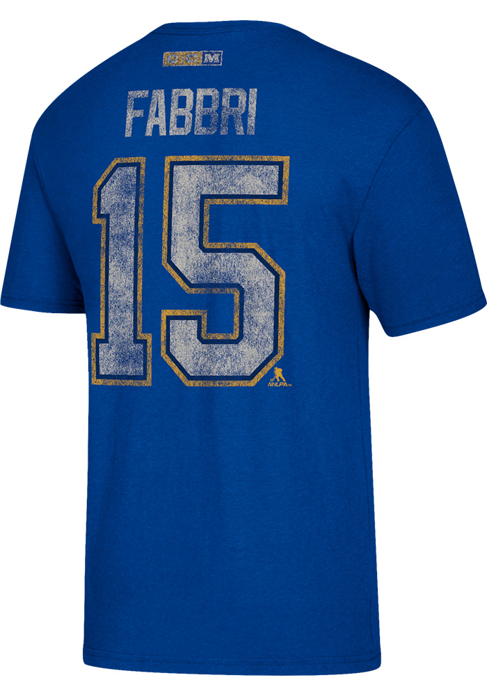 Robby Fabbri St Louis Blues Mens Blue Name and Number Short Sleeve Fashion Player T Shirt, Blue, 50% COTTON / 37.5% POLYESTER / 12.5% RAYON, Size L