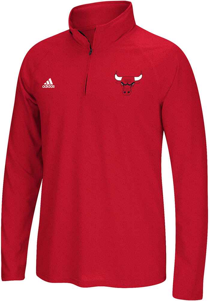 Adidas Chicago Bulls Mens Red Left Chest Screen Print Long Sleeve 1/4 Zip Pullover - Image 1