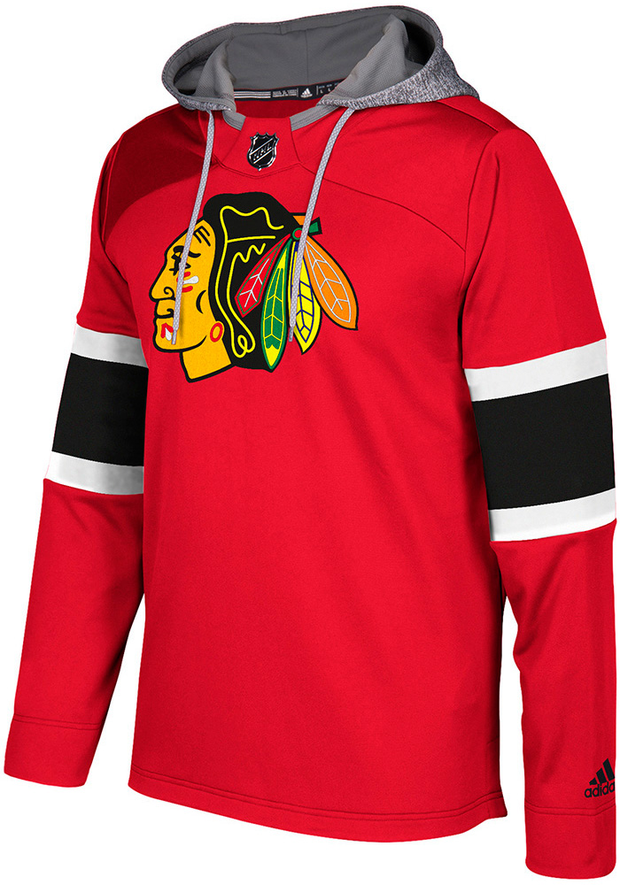 Adidas Chicago Blackhawks Mens Platinum Jersey Hood