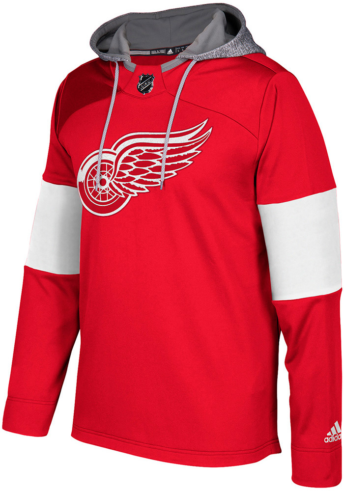 Adidas Detroit Red Wings Mens Red Platinum Jersey Hood, Red, 100% POLYESTER, Size XL