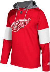 Detroit Red Wings Adidas Platinum Jersey Hood - Red