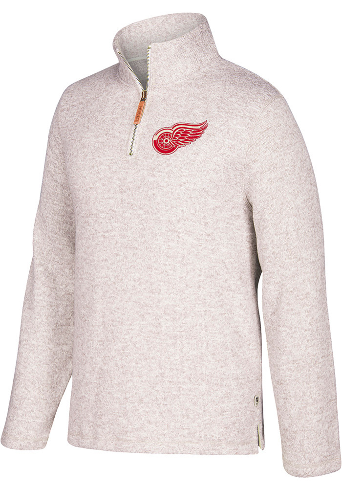 Adidas Detroit Red Wings Mens Grey Heritage Long Sleeve 1/4 Zip Fashion Pullover - Image 1