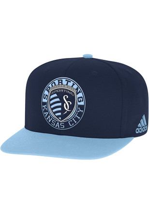 Adidas Sporting Kansas City Mens Navy Blue Patch 2 Tone Snapback Hat