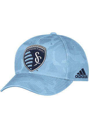 Adidas Sporting Kansas City Mens Light Blue Tonal Camo Adjustable Hat