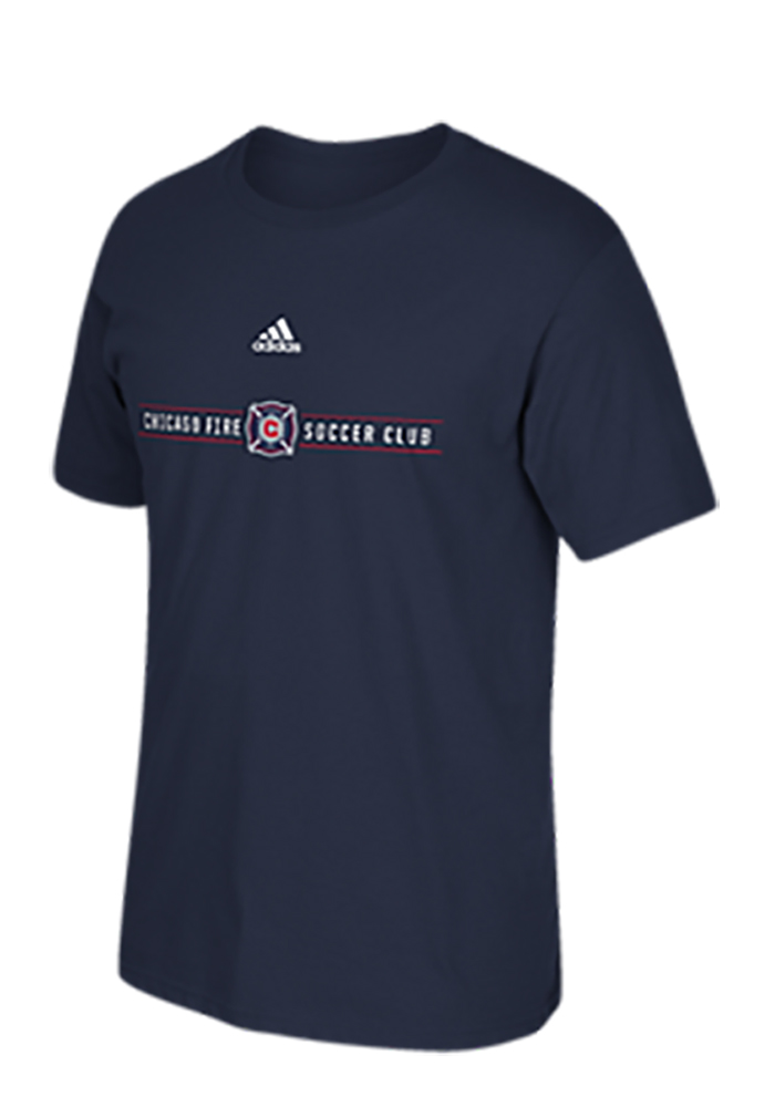 Adidas Chicago Fire Mens Navy Blue Wordmark Short Sleeve T Shirt - Image 1
