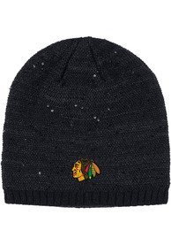 d33cc7bdf35ade Adidas Chicago Blackhawks Womens Black Sequin Knit Hat