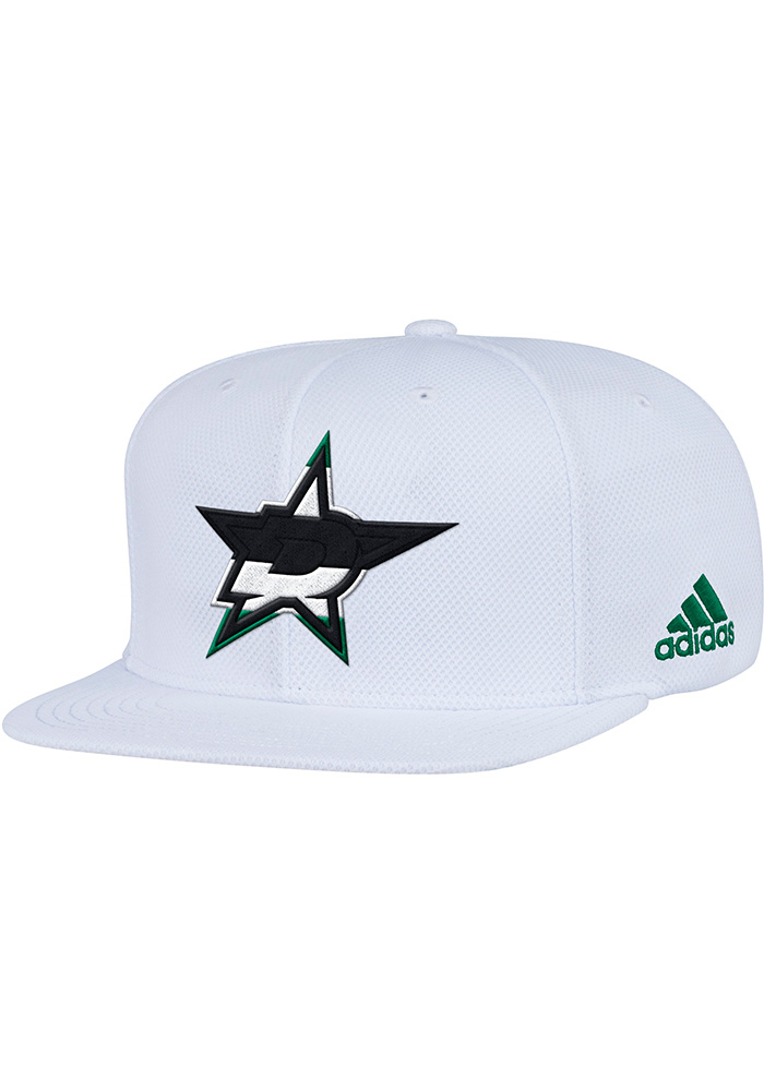 Adidas Dallas Stars White Hockey Stripe Mens Snapback Hat - Image 1